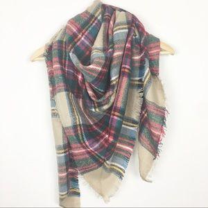 Accessories - Lightweight blanket winter scarf tan red fringe
